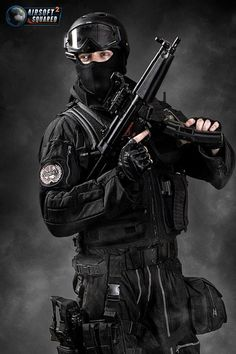 Airsoft SWAT outfit. I'd probably only use this layout for indoor C.Q.B facilities.