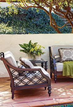 Elegance and grace will fill your outdoor living space with the addition of the stunning Black Sands Deep Seating Collection by Tommy Bahama. | Frontgate: Live Beautifully Outdoors