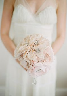 Pick a breathtaking hand-dyed silk bouquet, embellished with glittering crystals. #etsyweddings