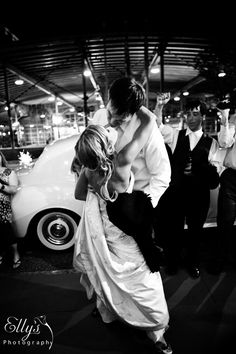 Wedding reception - Couple leaving in front of Millennium Center