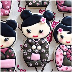 My favorite cookies to make, Kawaii Kokeshi Dolls! ^_^