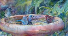 Blue Birds and Friend 2015 Jeannie Vodden Watercolor Animals, Watercolor Art, Sierra Nevada, Animal Paintings, Floral Paintings, Bird Art, Beautiful Birds, Pet Portraits, Painting Inspiration
