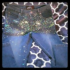 """*Host pick 9/26 *  Lazer Jeans lots of """"Bling"""" Beautiful jeans that can be dressed up or down. Boot cut with nice stone washed appearance. No design in the back. Lazer Jeans Boot Cut"""