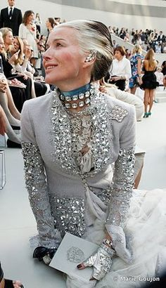 Daphne Guinness. Her jacket is phenomenal!