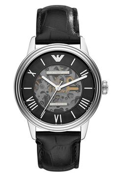 Emporio Armani Skeleton Dial Leather Strap Watch, 39mm available at #Nordstrom