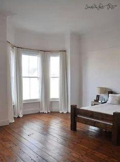 Master bedroom in Victorian house. Master bedroom in Victorian house. Bedroom Wooden Floor, White Wooden Floor, Bedroom Flooring, Bedroom Curtains, White Curtains, Linen Curtains, White Bedroom, Master Bedroom, Dream Bedroom