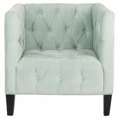 """Light blue club chair with button tufting and birch wood legs.  Product: ChairConstruction Material: Birch woodColor: Light blue Features: Button-tufted Dimensions: 31.9"""" H x 31.9"""" W x 32.9"""" D"""