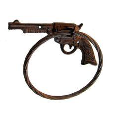 Amazon.com - Cowboy Six Shooter Cast Iron Metal Gun Towel Ring - Gun Decor Bathroom