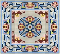 Chinese Peony Pattern Transcribed from the back of a rug. C2c Crochet, Crochet Needles, Cross Stitch Designs, Cross Stitch Patterns, Cross Stitch Embroidery, Hand Embroidery, Hippie Crochet, Vintage Cross Stitches, Floor Rugs