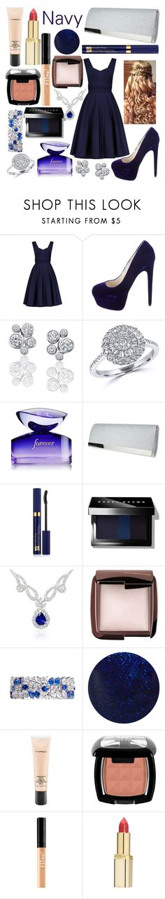 """Navy"" by carolynevers ❤ liked on Polyvore featuring Brian Atwood, Effy Jewelry, Nina, Estée Lauder, Bobbi Brown Cosmetics, Hourglass Cosmetics, CZ by Kenneth Jay Lane, RGB, MAC Cosmetics and NYX"