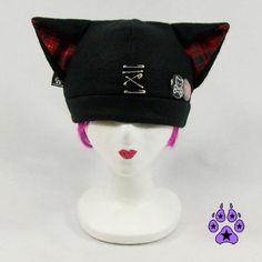 Plaid Kitty Hat Jrock PUNK kawaii cosplay anime cat by pawstar