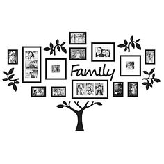 Create an eye-catching collage of your favorite family photos with WallVerbs' Family Tree Frame Set. The set includes 13 beautifully crafted black frames, 4 tree branch plaques, 1 Family plaque, 1 tree trunk plaque, and a full-size hanging template.