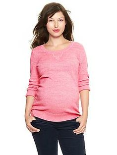 Three-quarter sleeve marled sweater | Gap