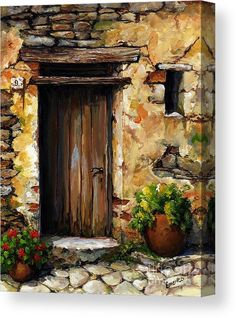Mediterranean Portal Acrylic Print by Emerico Imre Toth. All acrylic prints are professionally printed, packaged, and shipped within 3 - 4 business days and delivered ready-to-hang on your wall. Choose from multiple sizes and mounting options. Cool Paintings, Abstract Paintings, Landscape Paintings, Abstract Art, Building Painting, Art Watercolor, Canvas Art, Canvas Prints, Painting Techniques