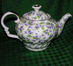 Lefton China Teapot Vintage Violets Purple