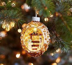 Lit Nativity Scene in Mercury Ornament #potterybarn