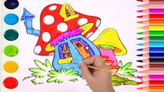 How to Draw Mushroom House Coloring Book for Kids| Learning Colouring Pages