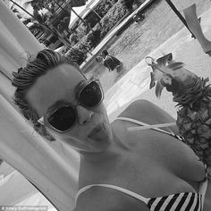 Showing off: Hilary Duff's cleavage was on full display as she shared this bikini-clad sel...