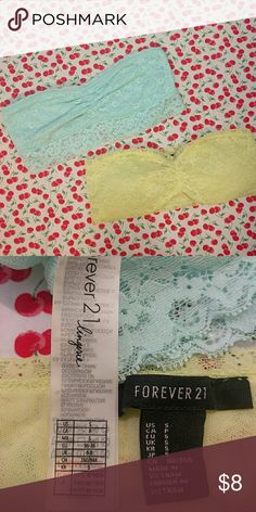 Set Lace Bandeaus One yellow green and one turquoise lace bandeau Never worn Forever 21 Intimates & Sleepwear Bandeaus