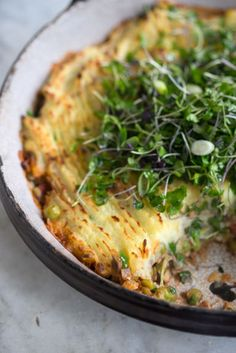 Make Ahead Vegan Samosa Shepherd's Pie    - Imagine a Shepherd's Pie with the flavors of an Indian samosa - that's what's going on here. Vegan, make-ahead, one-dish meal with a split pea (or lentil) base, mashed potato crust, and spices. - from 101Cookbooks.com