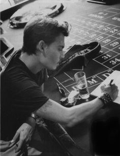 Johnny Depp at the roulette table. 1998 Photo by Amaud Baumann.