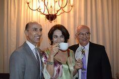 Nelson Lara, Presidente das Porcelanas Schmidt e Paulo Lara, Diretor de Marketing , ao lado da jornalista Claudia Matarazzo, consultora de etiqueta, moda e comportamento