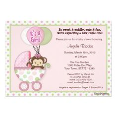 Monkey Baby Shower Invitation pink green--this is the theme for the baby's room and the same colors