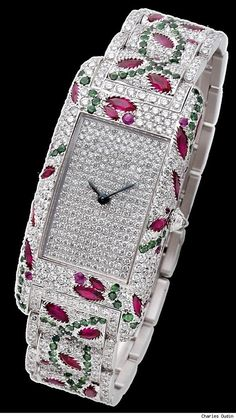 Charles Oudin Watch with Diamonds, Rubies and Emeralds
