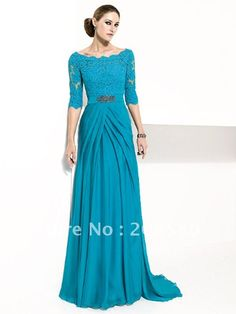 Aliexpress.com : Buy Blue long sleeve A line floor length lace chiffon mother evening dresses gowns M1627 from Reliable long sleeve mother dresses suppliers on Magical Dress Store