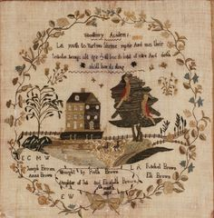 Ruth Brown (circa 1790–1830), Deptford Township, Gloucester County sampler, 1806. Woodbury Academy, Gloucester County collection of the New Jersey State Museum, museum purchase.