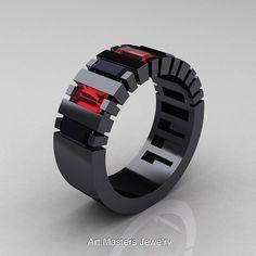 Mens Modern 14K Black Gold Black Diamond Ruby Baguette Cluster Tank Ring R395-14KGRGBDR