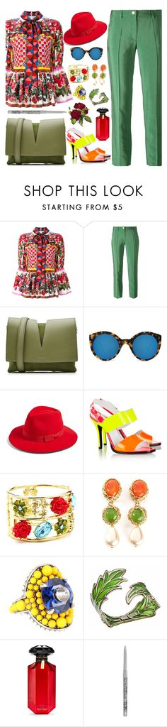 """Colours"" by purplerose27 on Polyvore featuring Dolce&Gabbana, Versace, Jil Sander, Illesteva, Brixton, Oscar de la Renta, Chanel, Gucci, Bernard Delettrez and Victoria's Secret"
