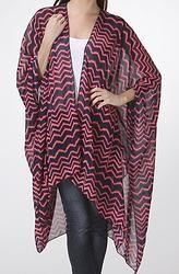 Long Pink & Navy Chevron Kimono Cardigan