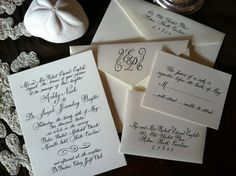 Hand calligraphy wedding invitations by TraciGreenDesigns on Etsy, $150.00