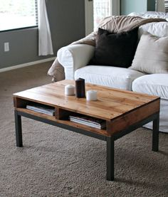 pallet turned coffee table....would be much better as my future desk :)