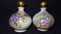Limoges D&Co. Delinieres Porcelain HP Perfume Bottles Purple Violets #DCoDelinieresCo