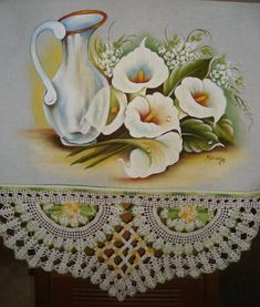 PAno de copa com pintura em tecido e croche tecido estilotex 100%algodao R$…