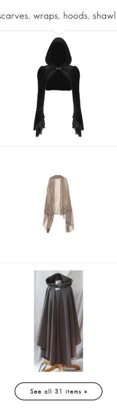 """""""scarves, wraps, hoods, shawls"""" by valaquenta ❤ liked on Polyvore featuring outerwear, tops, cardigan shrug, gothic shrug, velvet shrug, shrug cardigan, jackets, cardigans, women and cloak"""