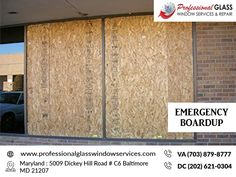 Protect your property from further damage after a disaster with emergency board up services from Professional Glass Window Services in Rockville MD, Laurel MD, and Washington DC. Call the Emergency Glass Repair experts you can rely on 24/7 for emergency board-ups and other urgent repairs. Call on (703) 879-8777 #EmergencyBoardup #EmergencyGlassRepair #glassrepair #BrokenStorefrontRepair #StorefrontInstallation #StormWindowsRepair Window Repair, Falls Church, Glass Repair, Good Company, Washington Dc, Board, Sign, Planks, Tray