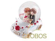 Bruid en Bruidegom Cartoon in Sneeuwbol