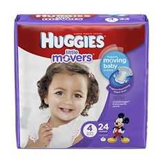 Huggies Little Movers Diapers  Size 4  24 ct >>> Click image to review more details.-It is an affiliate link to Amazon.