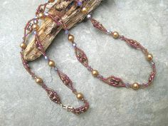 Woven Necklace of Swarovski Gold Pearls and by SleepingCatDesigns, $39.00
