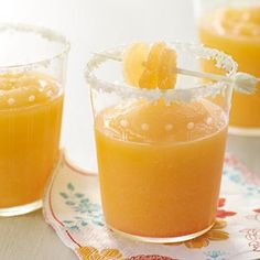 Mimosa Margarita.    Ingredients  1 can (12-ounce) frozen orange juice concentrate, reserve 1 tablespoon  10 ounces tequila  6 ounces ginger liqueur  1 teaspoon grated ginger  4 cups ice  2 tablespoons sea salt  Crystallized ginger to garnish  Directions  Using a blender, mix together the orange juice concentrate, tequila, ginger liqueur, ginger, a