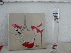 """tableau """"Rêve de shopineuse Parisienne"""" sur toile de lin : Décorations murales par danetgeo"""
