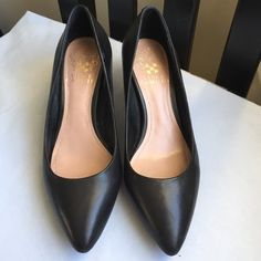 Vince Camuto size 5 black leather heels I've worn these heels only 2-3 times to work. They are extremely comfortable and have a low heel. Don't hesitate to make an offer! Vince Camuto Shoes Heels