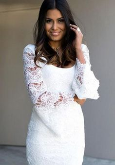 White Plain Hollow-out Lace Bell Sleeve Lace Mini Dress
