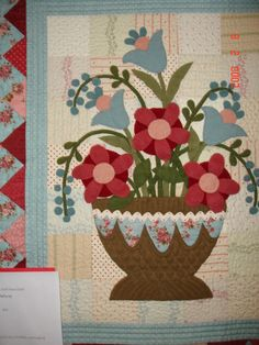 AQ wool applique-very sweet and summer looking-love it on the cotton background