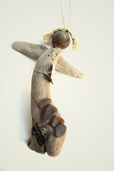 Handmade driftwood angel decorated with sea glass by Grazim