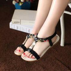 sandales femmes mode perles décoration confortable plates k0iOxZ61Q