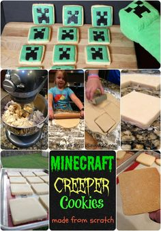 Minecraft creeper cookies - need this for a party!